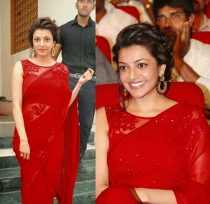 Buy Kajal Agarwal Red Designer Saree Online