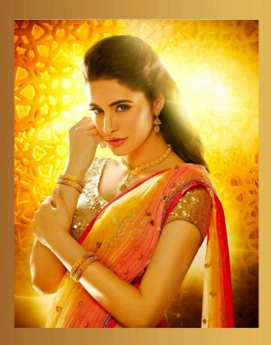 Buy Nargis Fakhri Light Yellow Orange Designer Saree Online