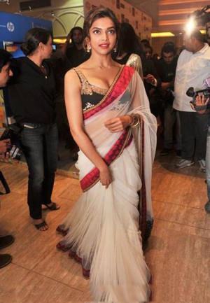 Buy Deepika White Net and Red Border Bollywood Replica  Online
