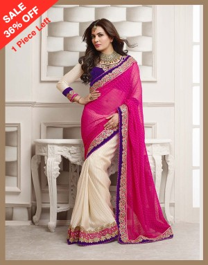 Buy Santana Rani and off white designer worked saree Online