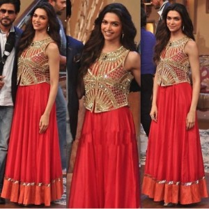 Buy Dipika in Red Bollywood Lehenga Anarkali at Chennai Express Promotion on Comedy Nights with Kapil Online