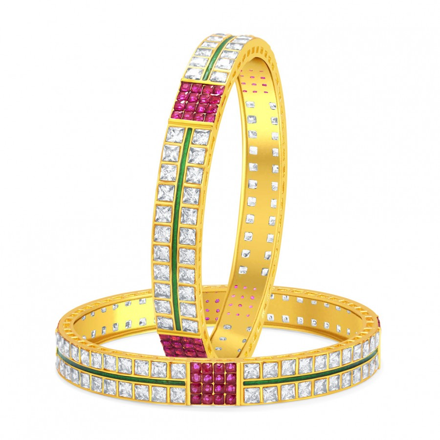 Buy Sukkhi Stylish Invisible Setting Two Line Solitaire Gold Plated American Diamond Bangle For Women Online