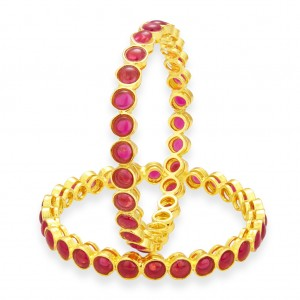 Buy Sukkhi Delightful Kempu Stone Gold Plated Bangle For Women Online