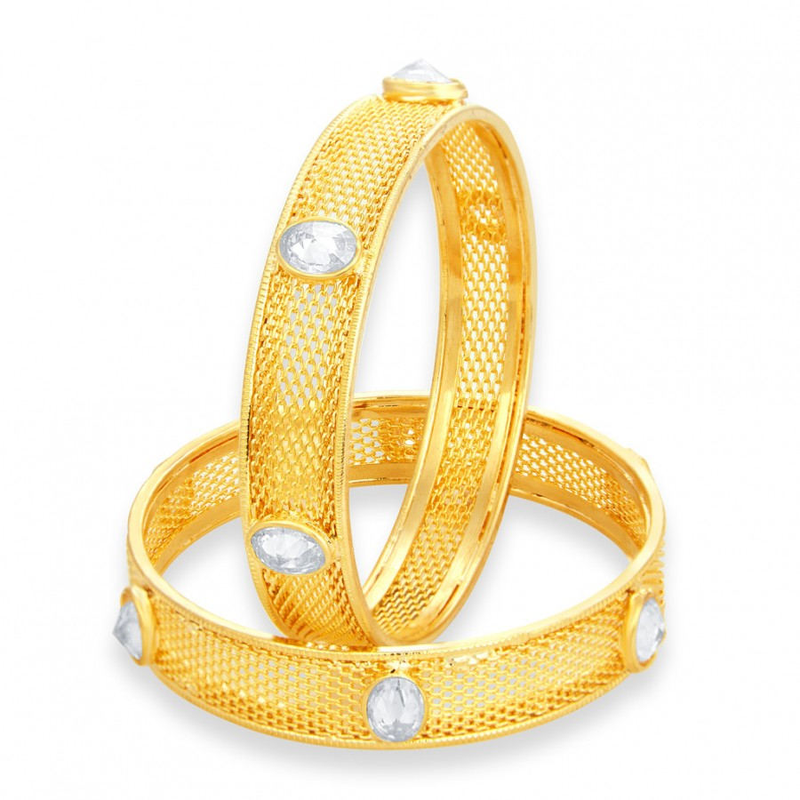 Buy Sukkhi Enchanting Gold Plated American Diamond Bangle For Women Online