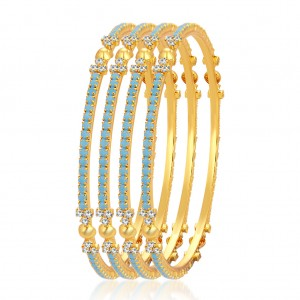 Buy Sukkhi Wavy Firozi Colour Stone Gold Plated AD Bangle For Women Online