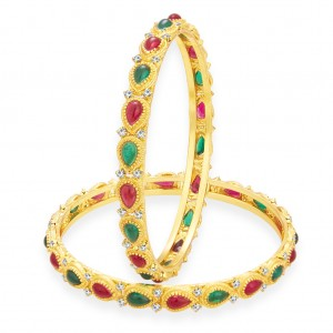 Buy Sukkhi Fashionable Kempu Stone Gold Plated AD Bangle For Women Online