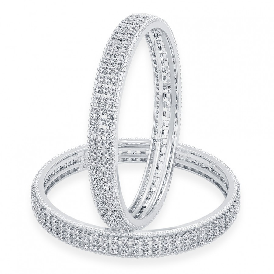 Buy Sukkhi Fabulous Rhodium Plated AD Bangle For Women Online