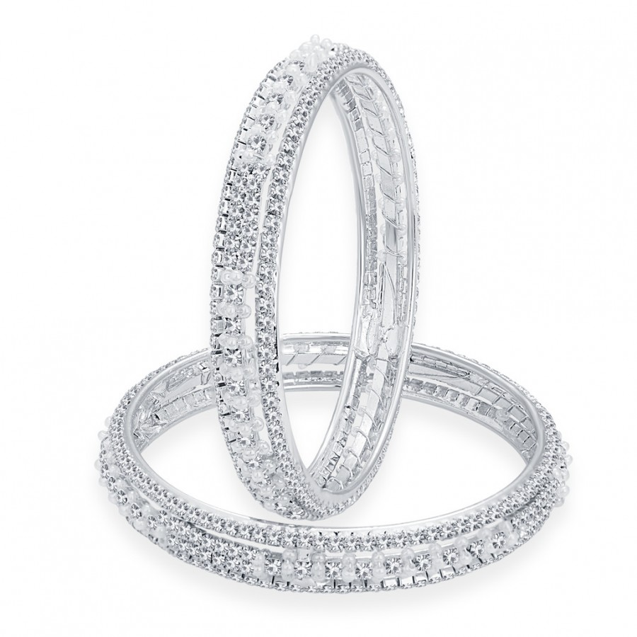 Buy Sukkhi Youthful Rhodium Plated AD Bangle For Women Online