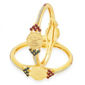 Buy Sukkhi Delightly Laxmi Coin Temple Gold Plated AD Bangle For Women Online
