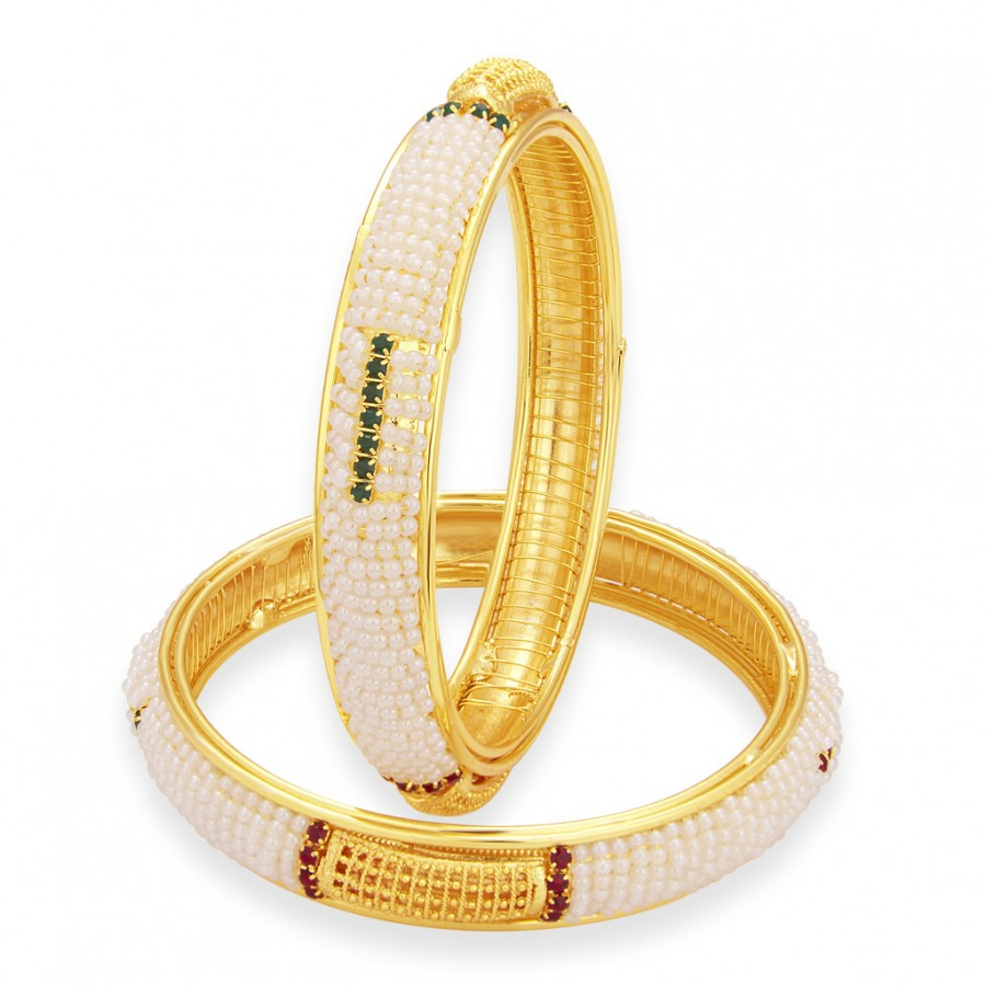 Buy Sukkhi Glorious Moti Gold Plated AD Bangle For Women Online