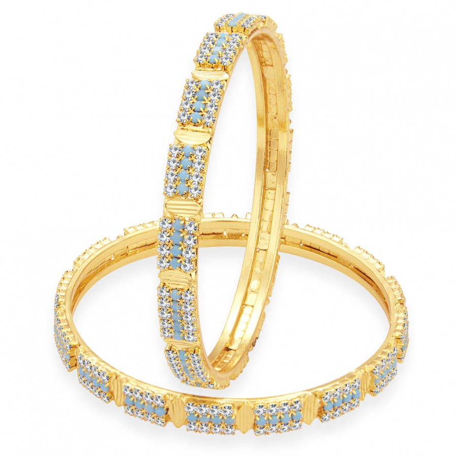 Buy Sukkhi Finely Firozi Colour Stone Gold Plated AD Bangle For Women Online