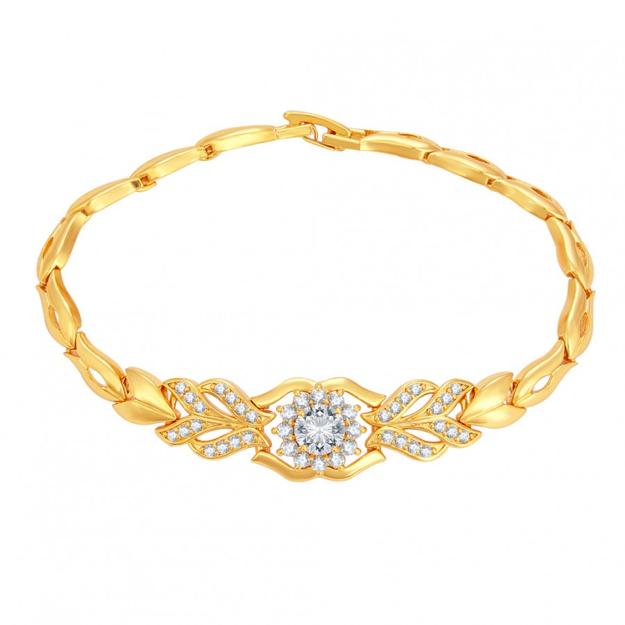 Buy Sukkhi Pretty Solitaire Gold Plated CZ Bracelet For Women Online