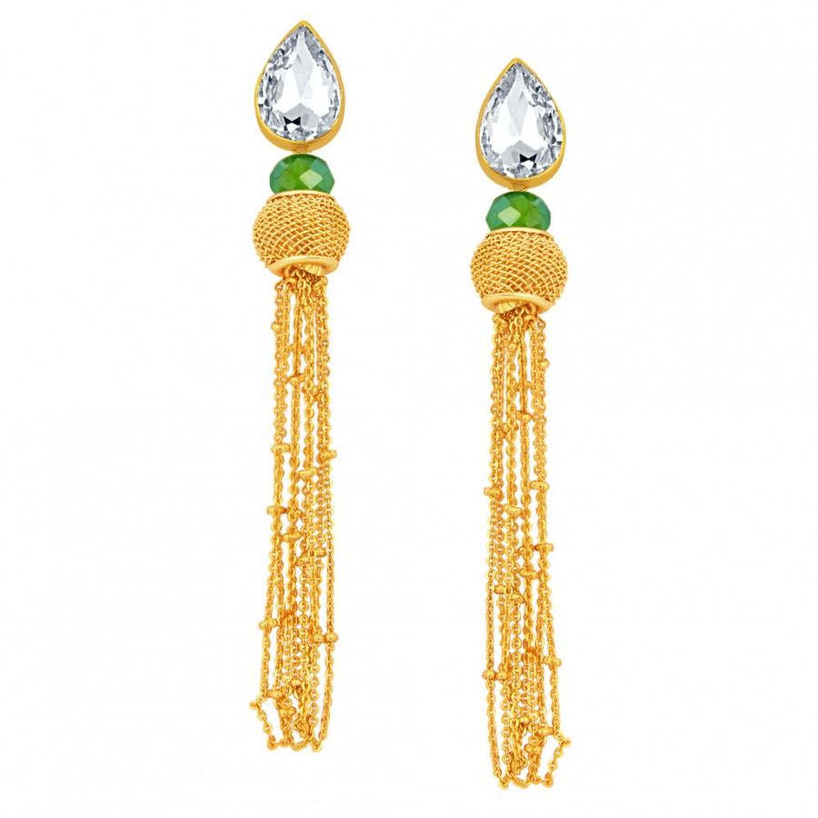Buy Sukkhi Delightful Solitaire Gold Plated American Diamond Earring For Women Online