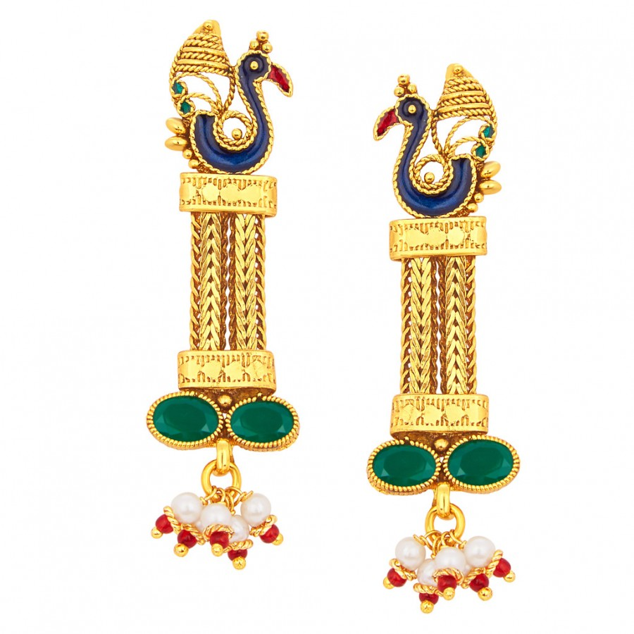 Buy Sukkhi Modish Peacock Gold Plated Earring For Women Online