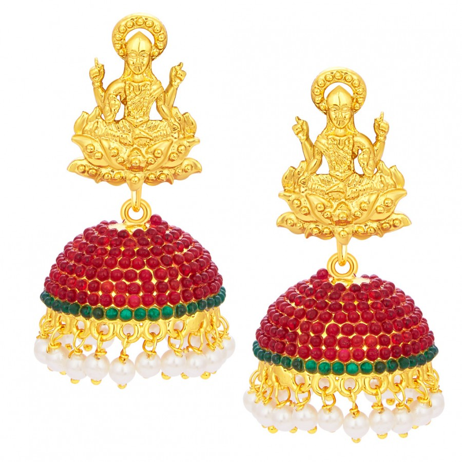 f8ff6952c Buy Sukkhi Divine Laxmi Temple Jhumki Gold Plated AD Earring For Women  Online