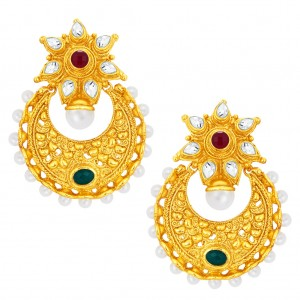 Buy Sukkhi Incredible Chandbali Gold Plated AD Earring For Women Online
