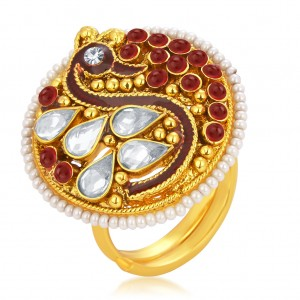 Buy Sukkhi Fabulous Designer Traditional Cocktail Peacock Gold Plated American Diamond Finger Ring For Women Online