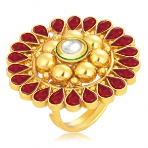 Buy Sukkhi Glorious Designer Traditional Cocktail Gold Plated Kundan Finger Ring For Women Online