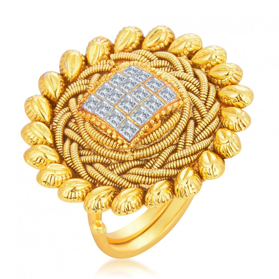 Buy Sukkhi Finely Designer Traditional Cocktail Invisible Setting Gold Plated American Diamond Finger Ring For Women Online
