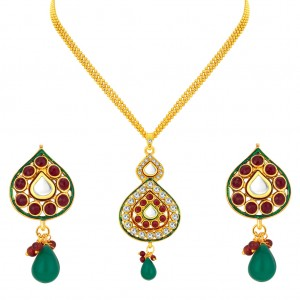 Buy Sukkhi Gleaming Gold Plated AD Pendant Set For Women Online