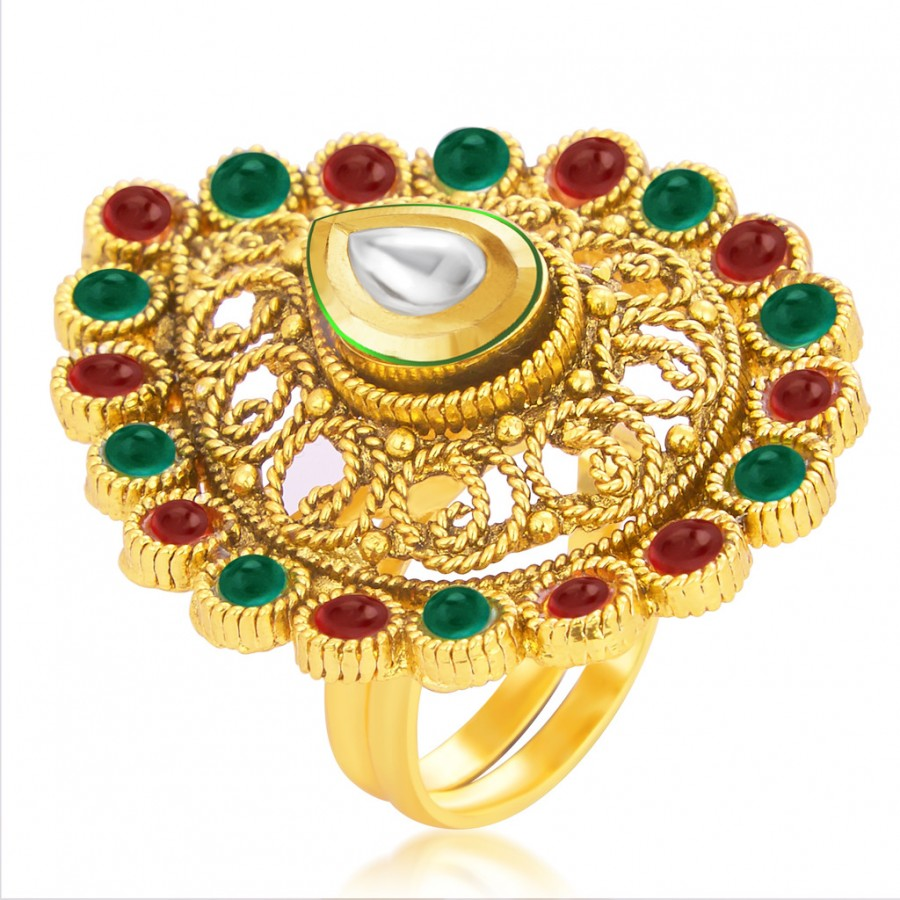Buy Sukkhi Bewitching Designer Traditional Cocktail Kempu Stone Gold Plated Kundan Finger Ring For Women Online