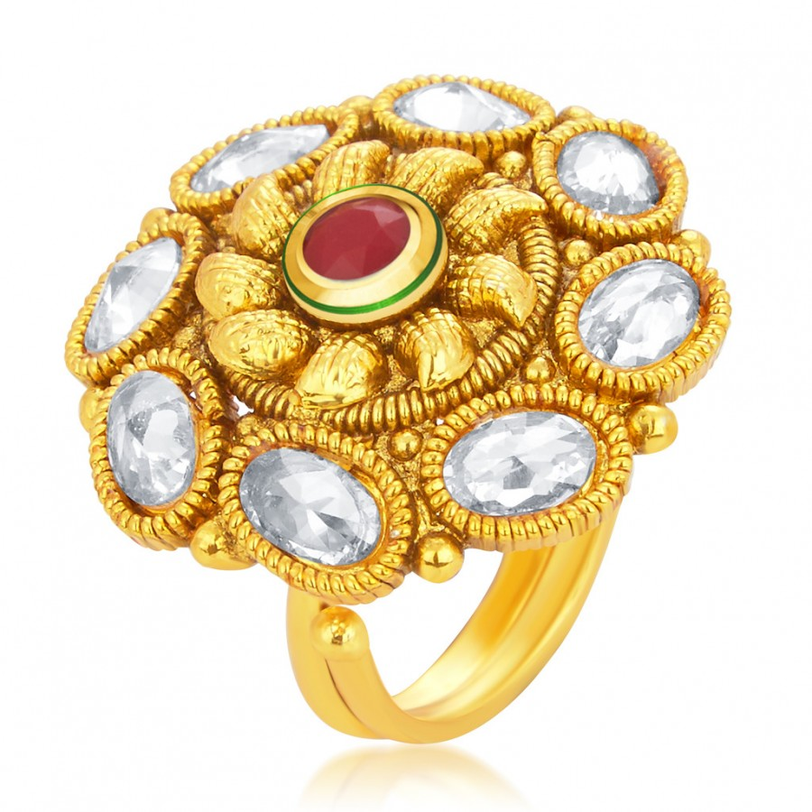 Buy Sukkhi Classic Designer Traditional Cocktail Gold Plated American Diamond Finger Ring For Women Online