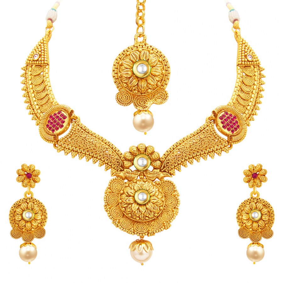 Sukkhi Traditional Gold Plated Necklace Set: Sukkhi Sleek Jalebi Gold Plated Necklace Set