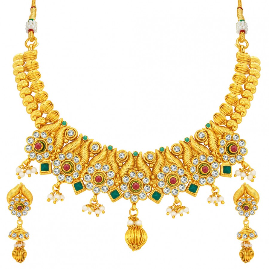 Buy Sukkhi Trendy Gold Plated AD Necklace Set For Women Online