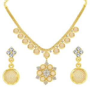 Buy Sukkhi Artistically Gold Plated AD Necklace Set For Women Online