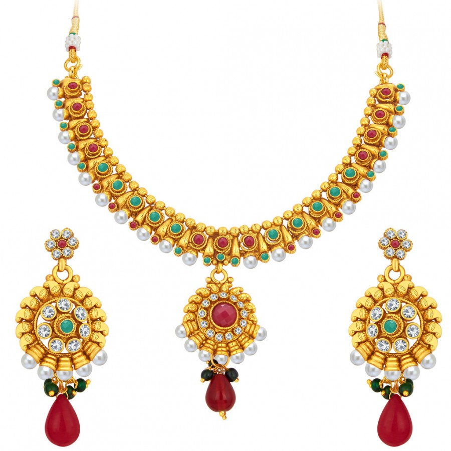 Buy Sukkhi Gorgeous Gold Plated Necklace Set For Women Online