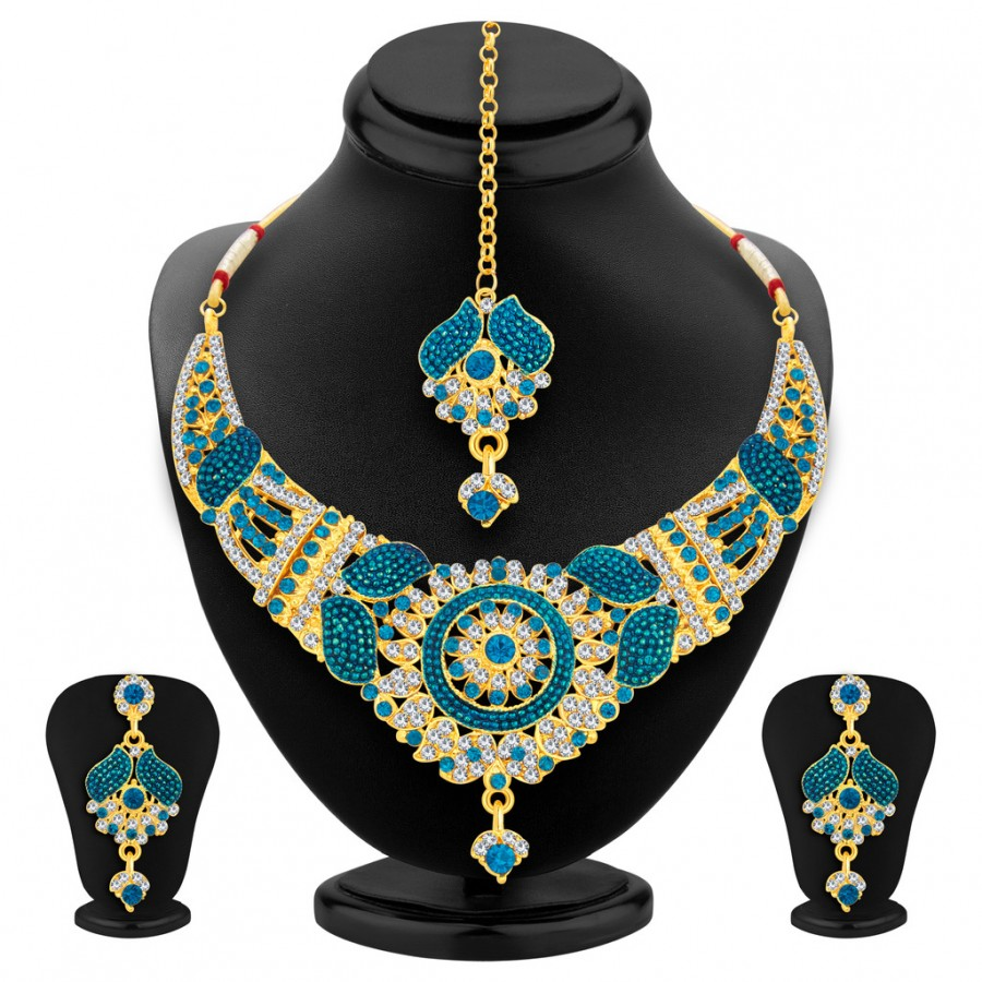 Buy Sukkhi Sparkling Gold Plated AD Necklace Set For Women Online