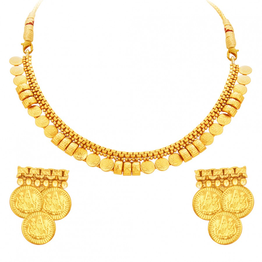 Buy Sukkhi Exquisite Laxmi Temple Coin Gold Plated Necklace Set For Women Online