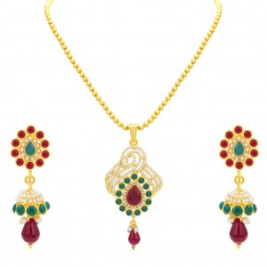 Buy Sukkhi Bewitching Gold Plated AD Pendant Set For Women Online