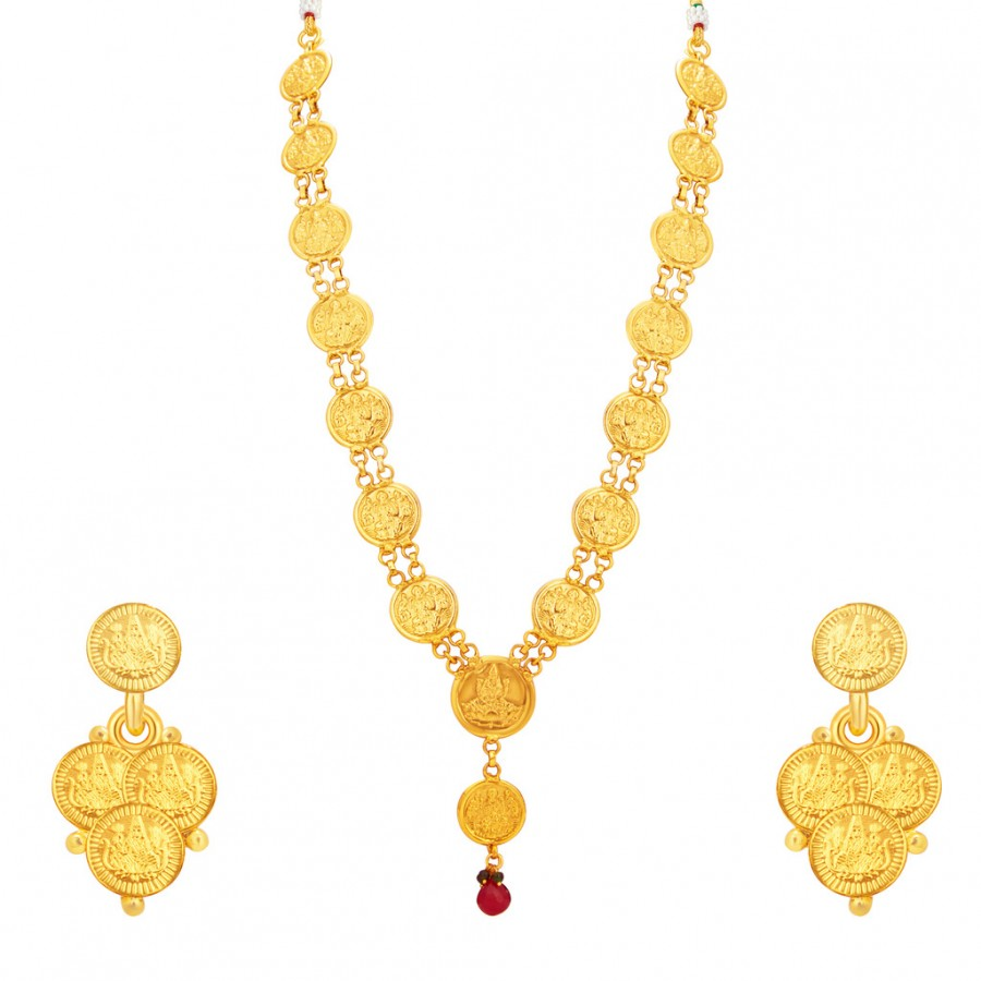 Buy Sukkhi Sleek Laxmi Temple Coin Gold Plated Necklace Set For Women Online