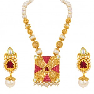 Buy Sukkhi Stylish Invisible Setting Gold Plated Necklace Set For Women Online