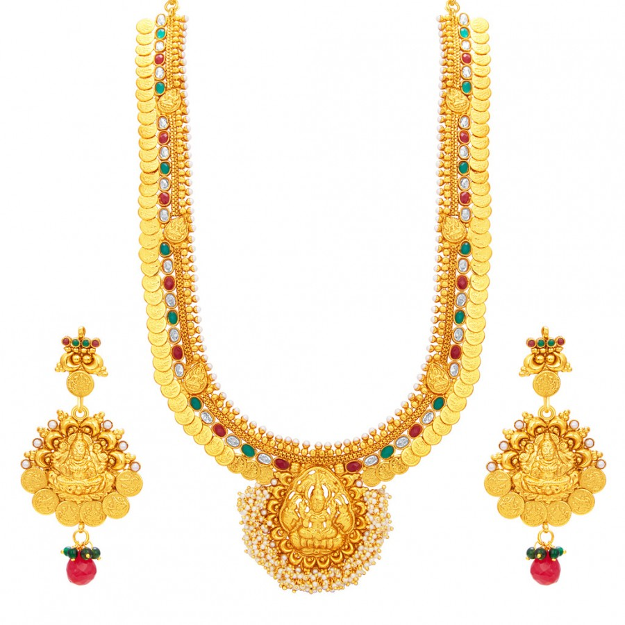 Buy Sukkhi Artistically Laxmi Temple Coin Gold Plated Necklace Set For Women Online