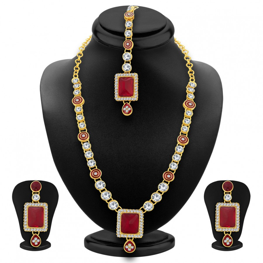 Buy Sukkhi Delightly Gold Plated AD Necklace Set For Women Online