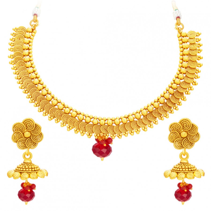 Buy Sukkhi Modern Jalebi Gold Plated Necklace Set For Women Online