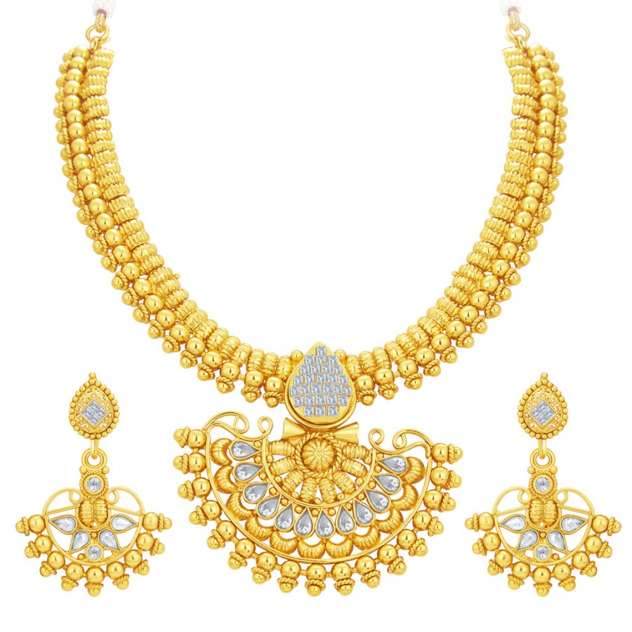 Buy Sukkhi Dazzling Invisible Setting Gold Plated American Diamond Necklace Set For Women Online