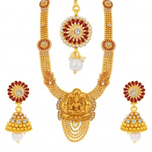 Buy Sukkhi Exquitely Laxmi Temple Gold Plated Necklace Set For Women Online