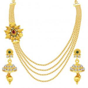 Buy Sukkhi Sparkling Four String Gold Plated Necklace Set For Women Online