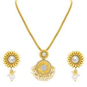 Buy Sukkhi Blossomy Invisible Setting Gold Plated American Diamond Pendant Set For Women Online