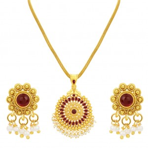 Buy Sukkhi Marquise Gold Plated Pendant Set For Women Online