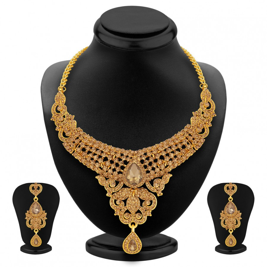 Buy Sukkhi Bewitching LCT Stone Gold Plated AD Necklace Set For Women Online