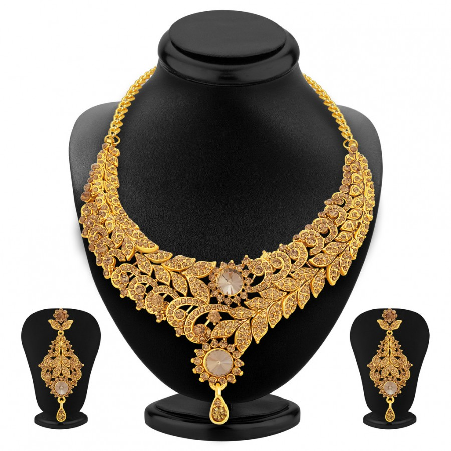 Buy Sukkhi Enchanting LCT Stone Gold Plated AD Necklace Set For Women Online