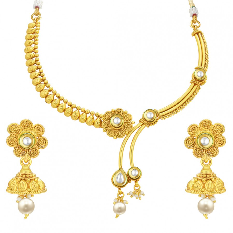 Sukkhi Traditional Gold Plated Necklace Set: Sukkhi Glittery Jalebi Gold Plated Kundan Necklace Set For