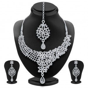 Buy Sukkhi Glittery Rhodium Plated AD Necklace Set For Women Online