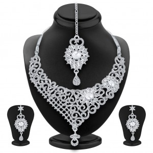 Buy Sukkhi Youthful Rhodium Plated AD Necklace Set For Women Online