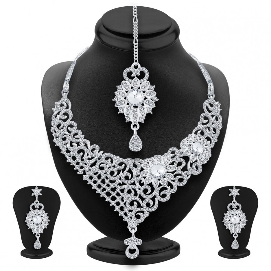 Grab  Sukkhi Youthful Rhodium Plated AD Necklace Set For Women at ...