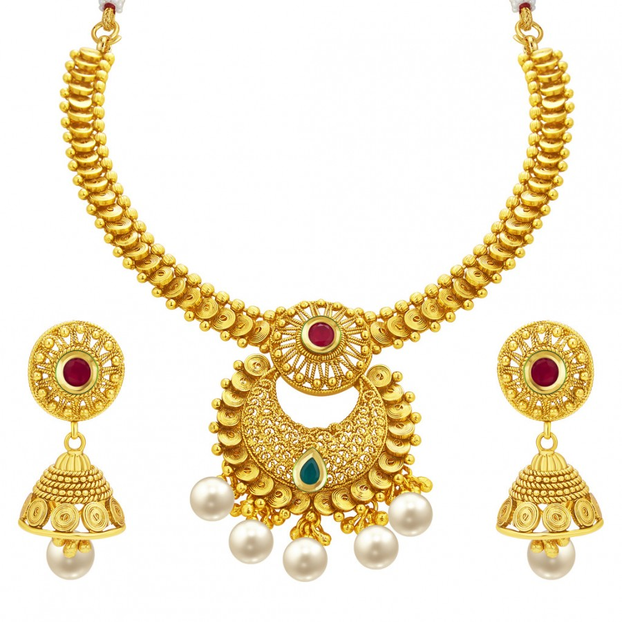 Sukkhi Traditional Gold Plated Necklace Set: Sukkhi Classy Jalebi Gold Plated Necklace Set For Women